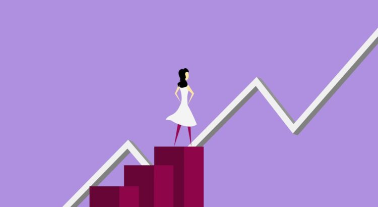 Woman with rising chart